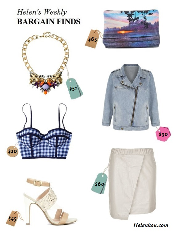 The art of accessorizing-helenhou's Weekly Bargain Finds-statement necklace-clutch,leather skirt, denim jacket-strappy sandal