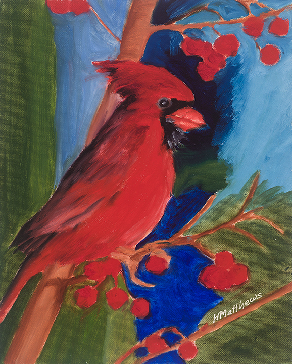 Cardinal, oil on canvas, Painter Helen Matthews