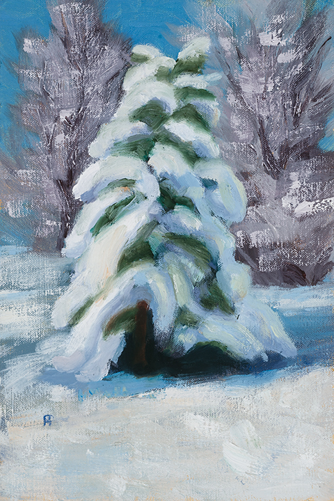 Sparkling Snow, 8X12, oil on panel, Painter Helen Matthews