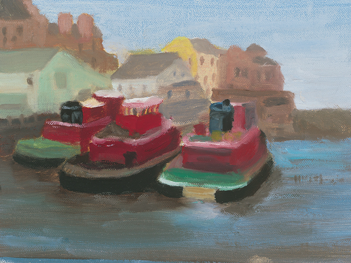 Three Tugs, 6x8, oil on panel, Painter Helen Matthews