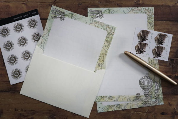 letter writing stationery discovery set on a desk