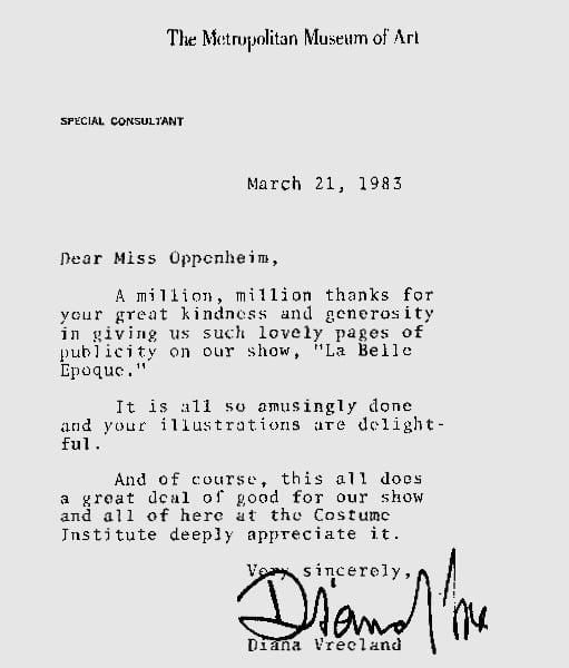Memories. Diana Vreeland Letter – 1983
