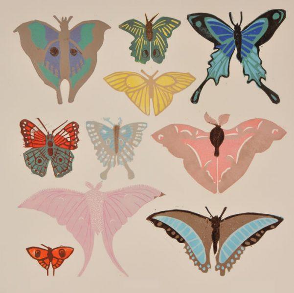 Butterflies – 25 Colour Reduction Linocut