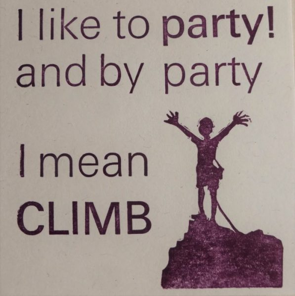 Letterpress Card -party Climbing