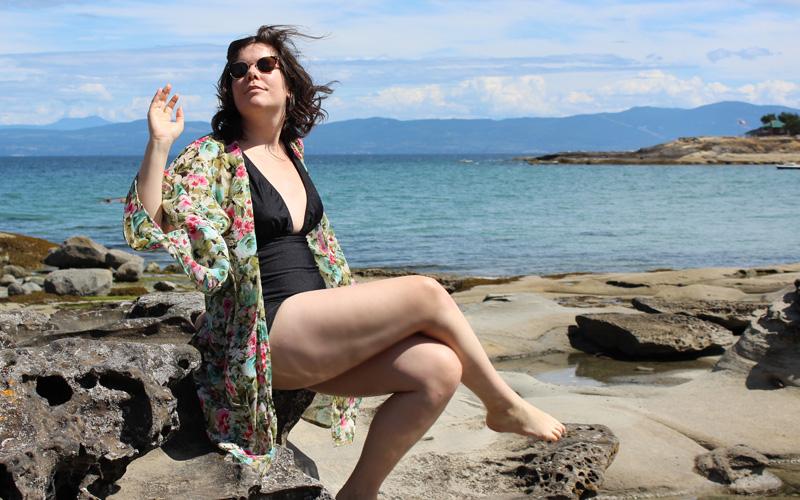 4b56c2f77bd11 Bombshell Swimsuit   Beach Kimono – Helen s Closet