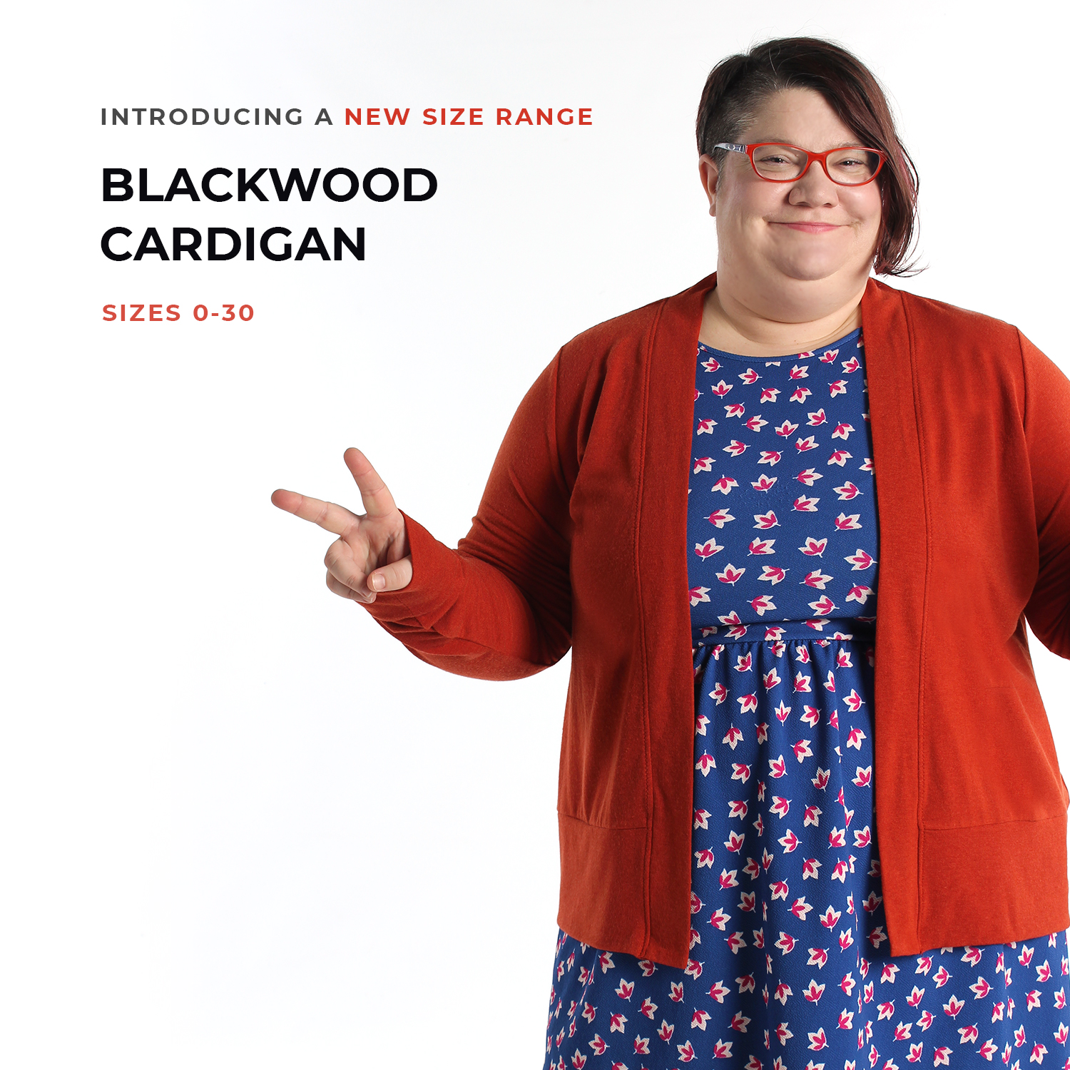 Helen's Closet Blackwood Cardigan image, showing a model wearing the new extended size range