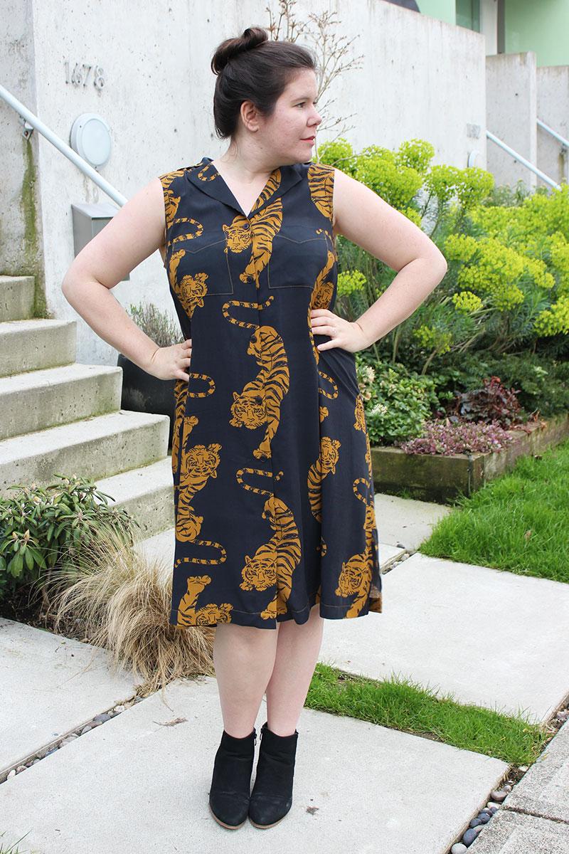 Sleeveless Reeta Shirtdress in Workroom Social Tiger Fabric