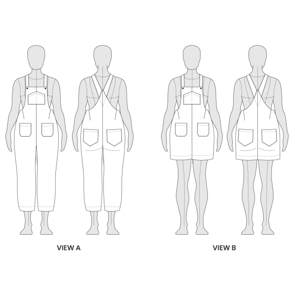 Yanta Overalls Line Drawing Technical Flat