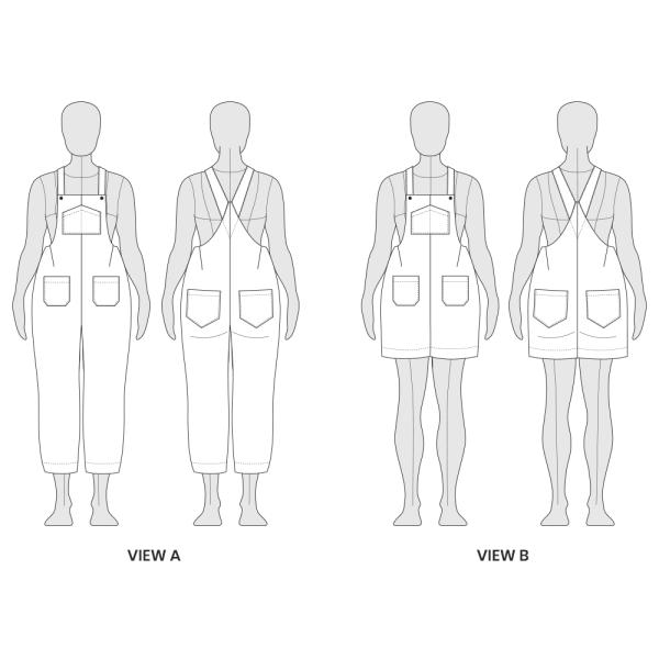 Yanta Overalls Line Drawing Technical Flat