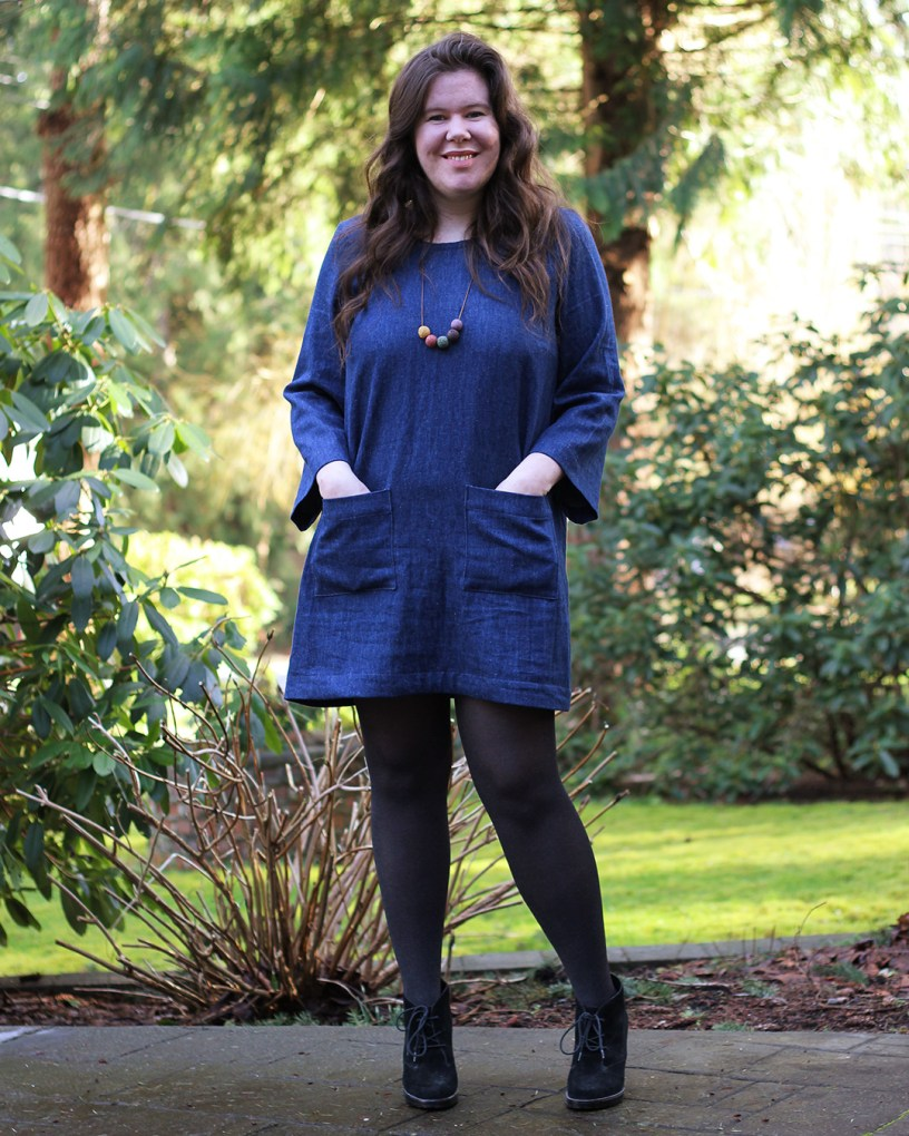 Ashton dress hack with long sleeves and patch pockets. Make in 6oz hemp denim.