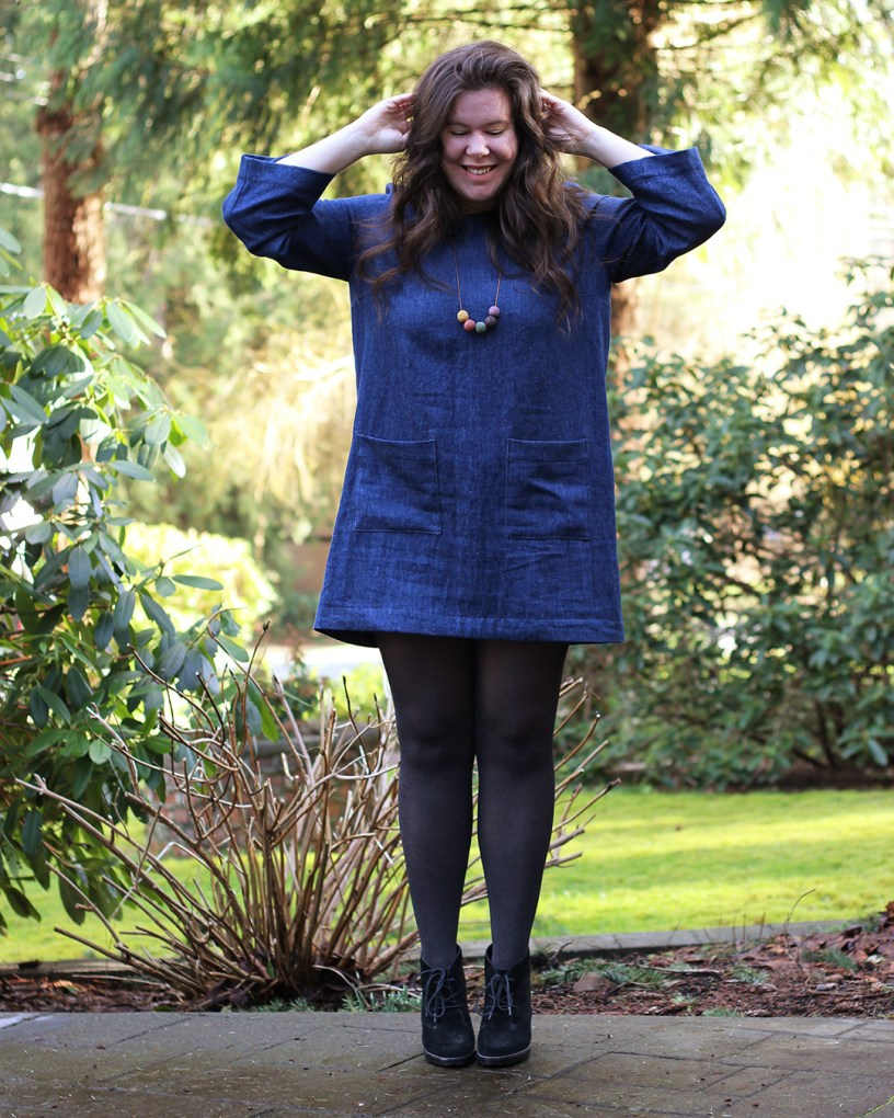 Retro inspired denim dress, made from the Ashton Top and Ashton Sleeve Expansion pack.