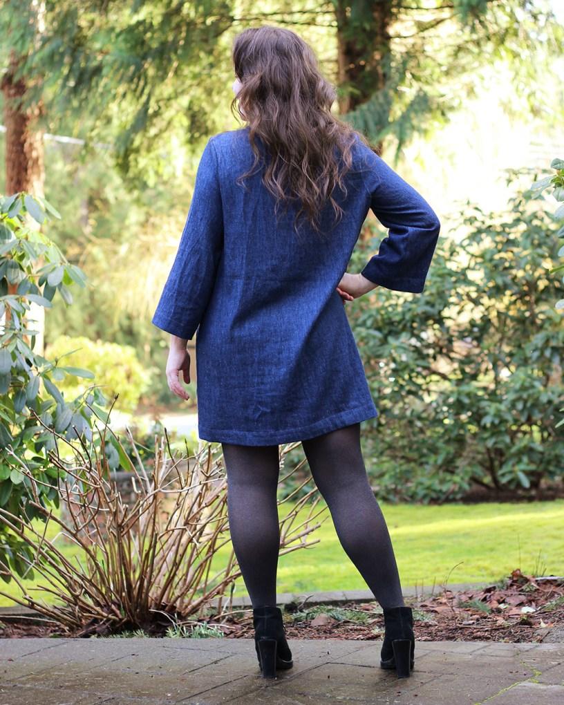 Ashton dress hack in hemp denim, back view.