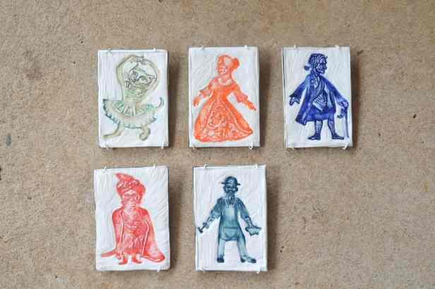 Paper Ghosts Series, Embossed porcelain panels, each 10x15cm