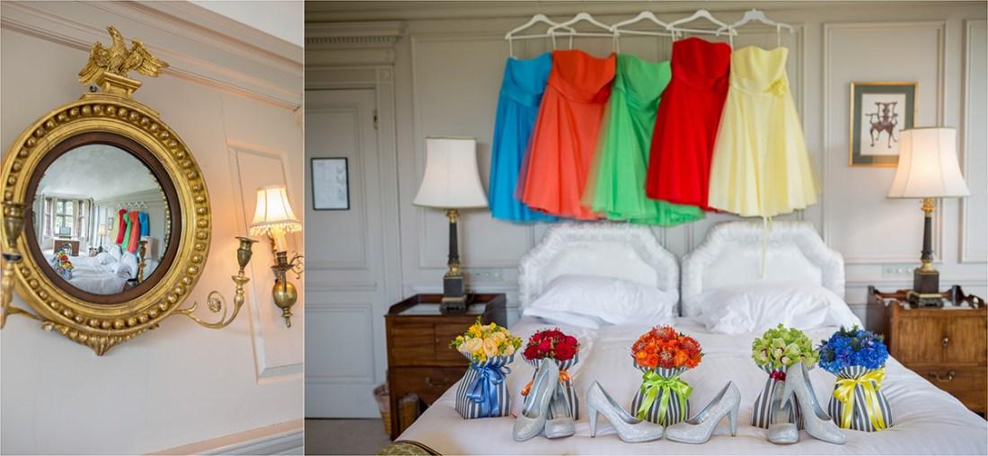 Thornton Manor bridesmaid dresses, colourful bridesmaid dresses, colourful wedding flowers