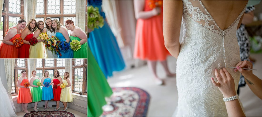 Colourful bridesmaids dresses at Thonrton Manor