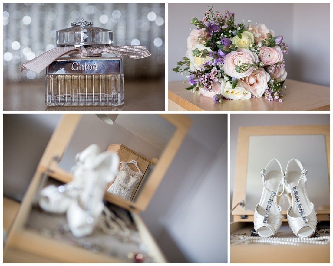 Wedding dress, wedding shoes, bouquet and ring