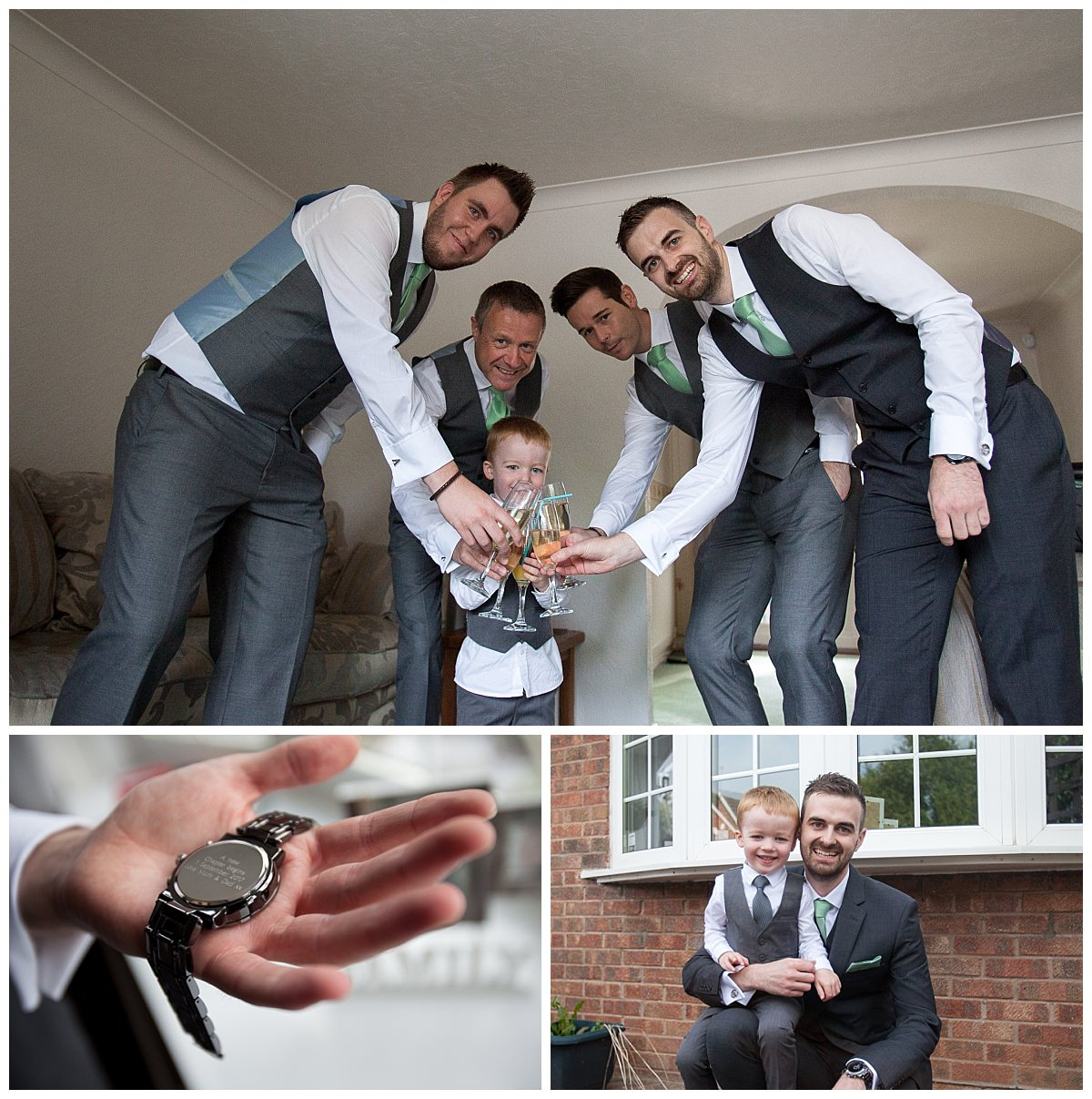 Groom with his groomsmen drinking champagne