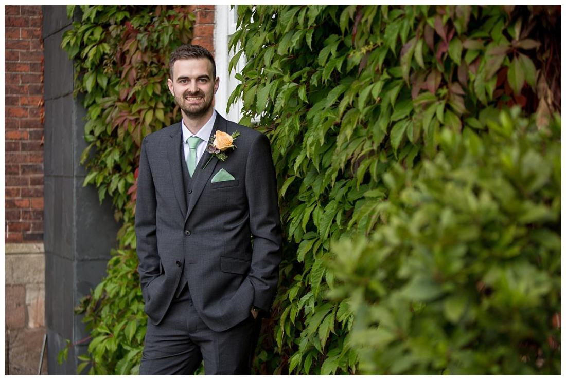 Groom outside Mottram Hall on his Wedding Day