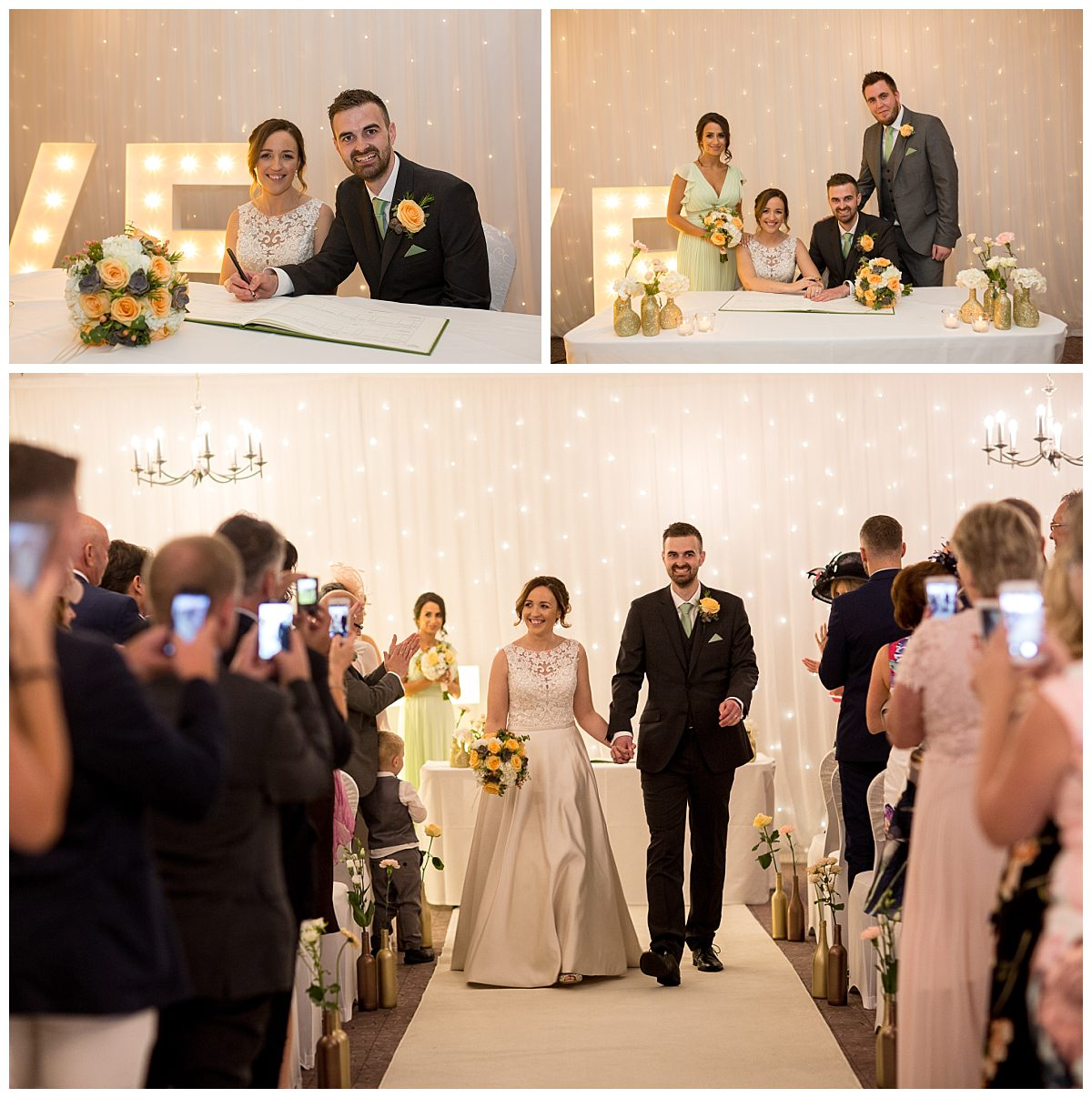Bride and Groom signing the register at Mottram Hall