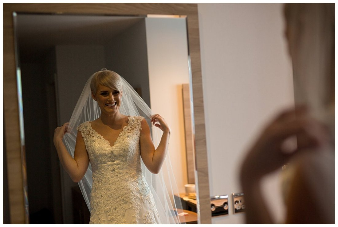 Bride getting ready at the Holiday Inn