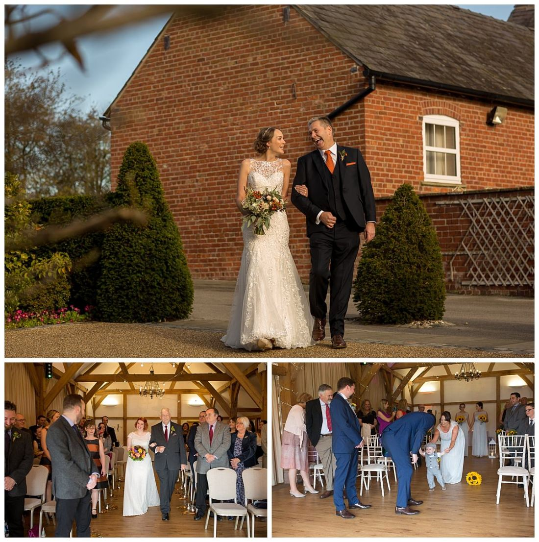 Bride walking down the aisle at Sandhole Oak Barn