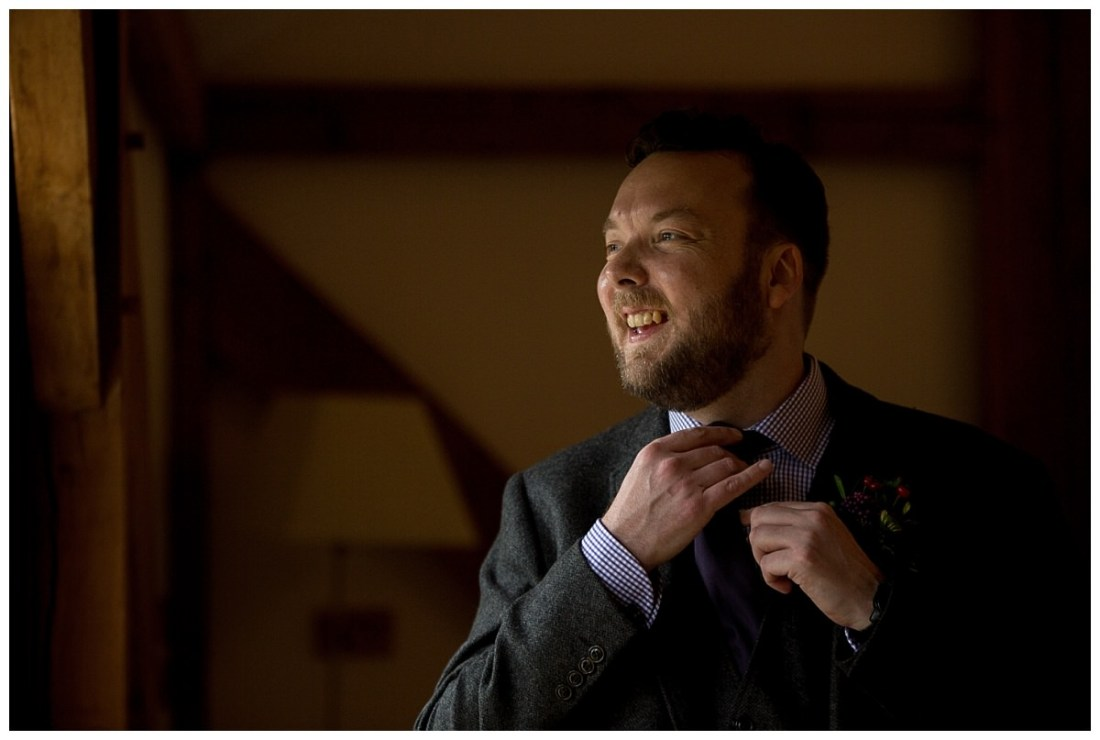 Groom before his wedding at Sandhole Oak Barn