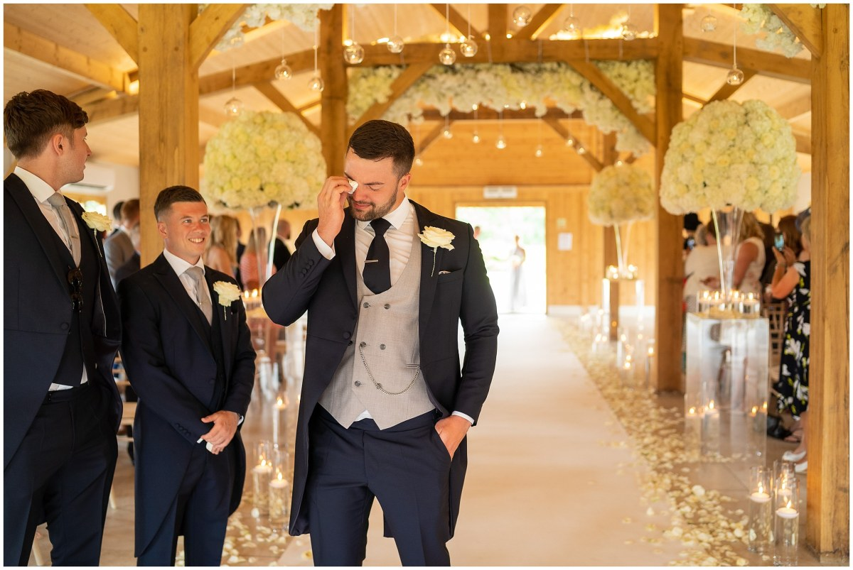 Groom crying at Merrydale Manor