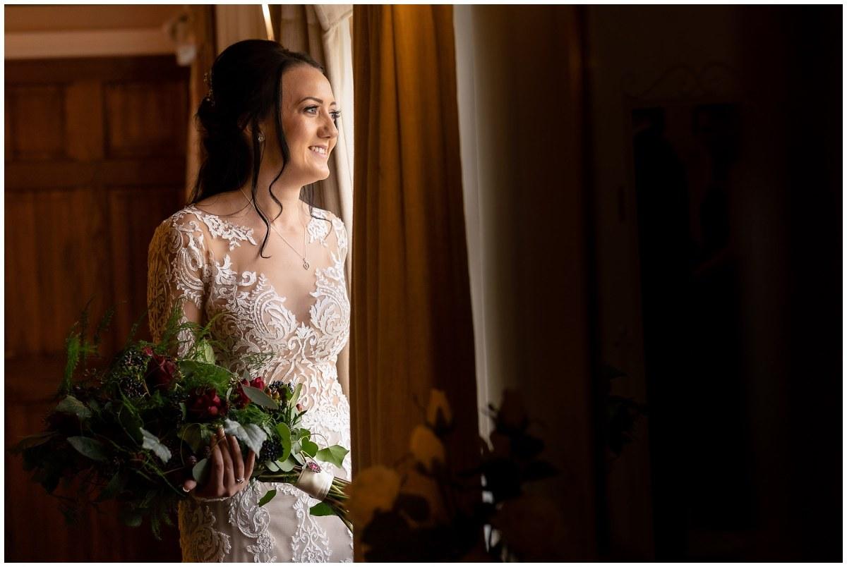 wedding dress at sandhole oak barn