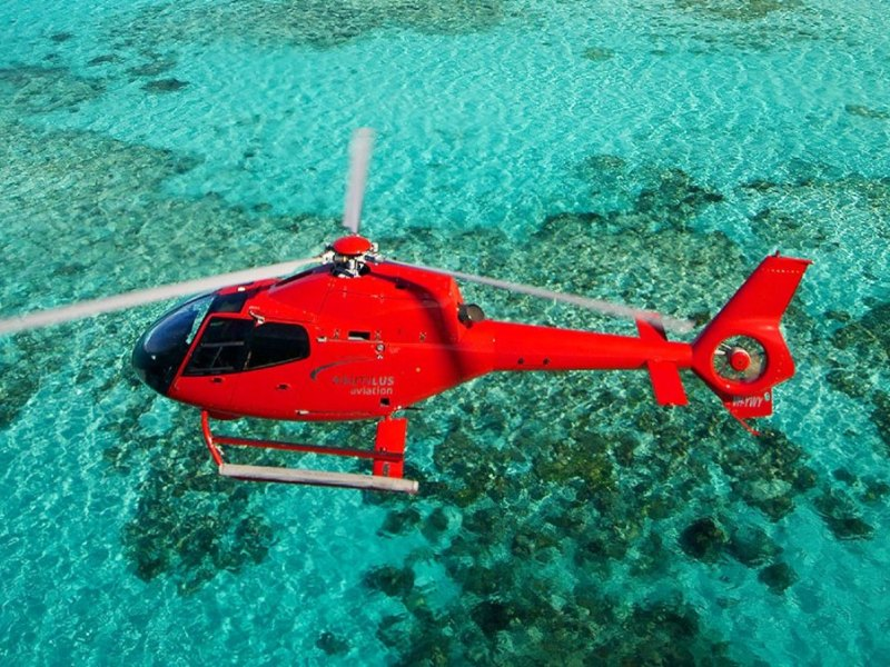Helicopter tour after scuba diving