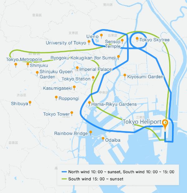 Route of chopper tour of Tokyo, Ueno and Asakusa