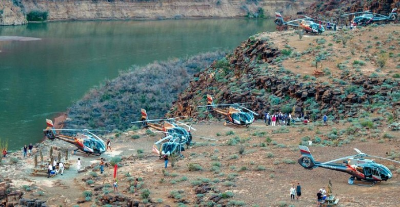 Helicopter landing on Grand Canyon floor