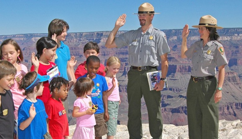 Kids with Rangers at Grand Canyon South Rim