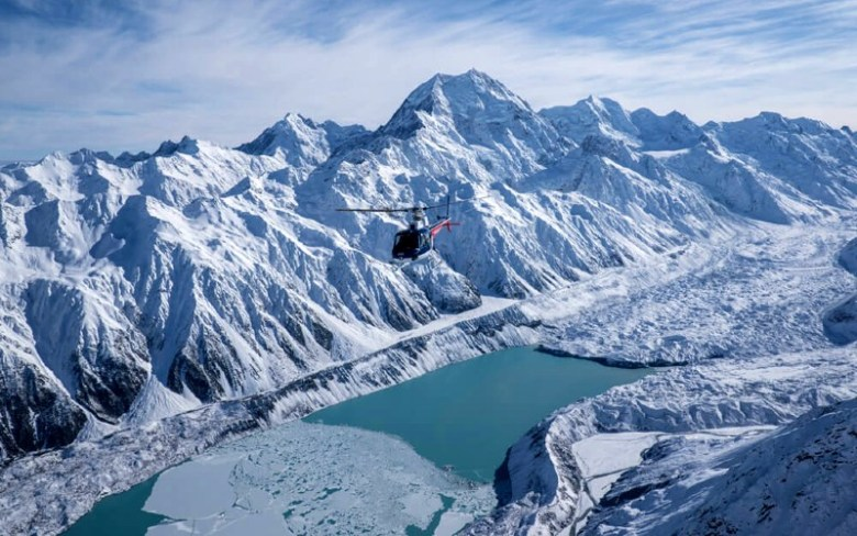 View of Mount Cook's Hooker Lake from chopper