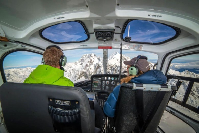 View of Mount Cook from inside helicopter