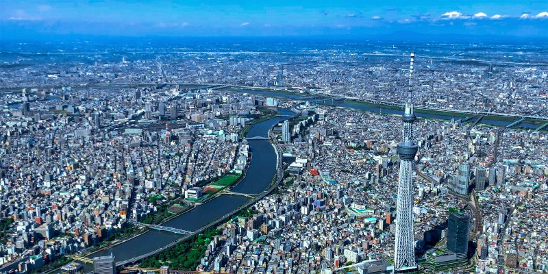 View of Tokyo Skytree from helicopter