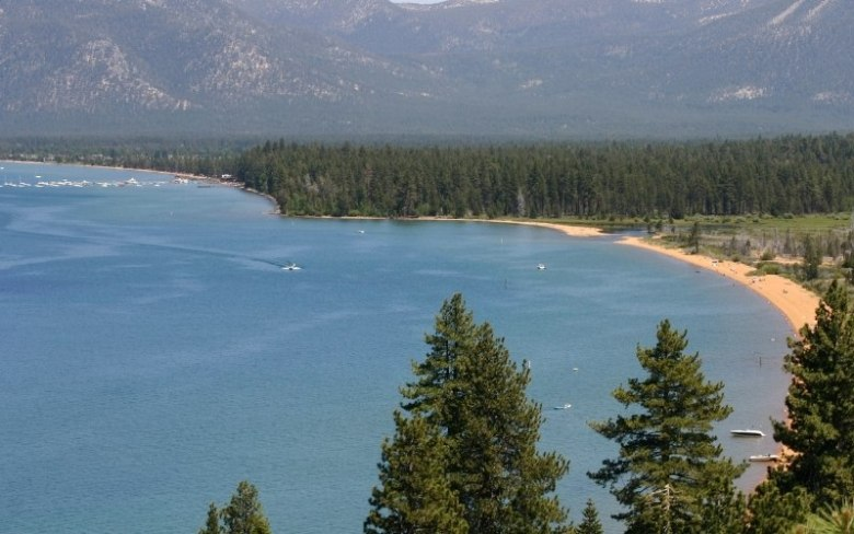 Aerial view of Tahoe lake