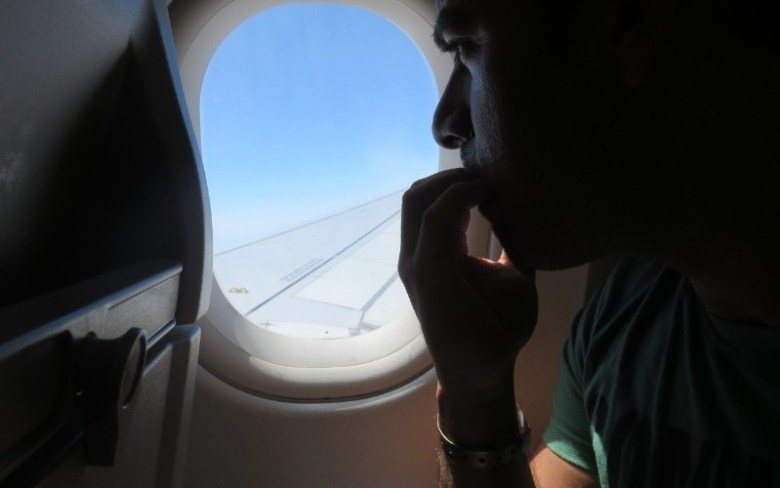 Man with fear of flying