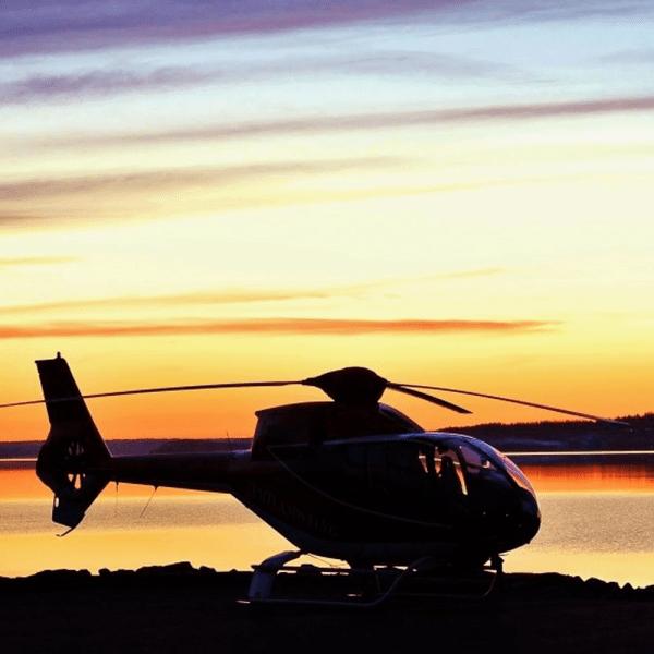 Helikopter vlucht zonsondergang Knokke Belgische Kust