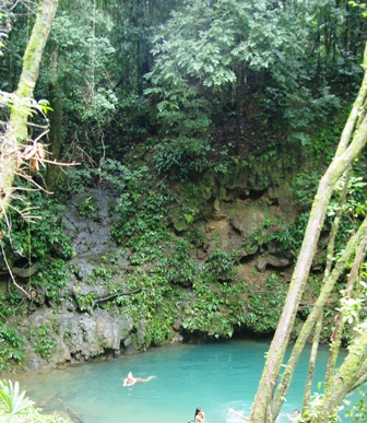 Paula in the jungle swimming hole