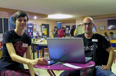 Nela Dunato si Vladivoj Lisica, organizatorii Futuricon, la Amiens, 2018
