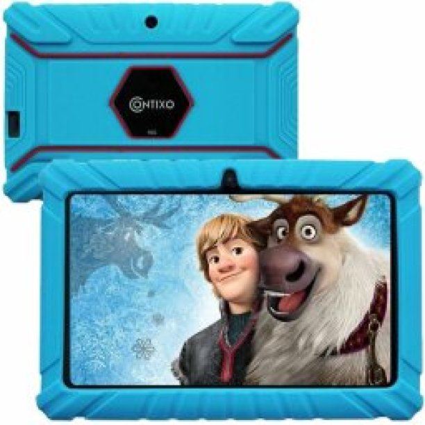 a blue contixo tablet with a frozen movie background