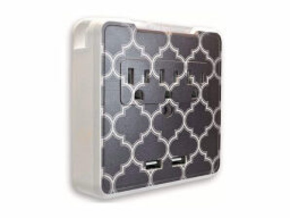 GlamSocket Decorative Multi-Outlet and Dual USB Port Surge Protector + Phone Holder — $27.99