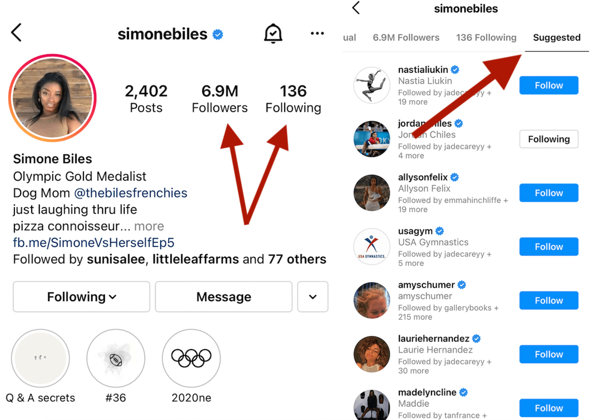 How to find users similar to Simone Biles. (Though there's only one GOAT.)