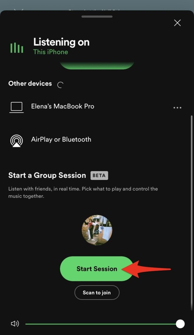 """Tap """"Start Session"""" to create your group listening session."""