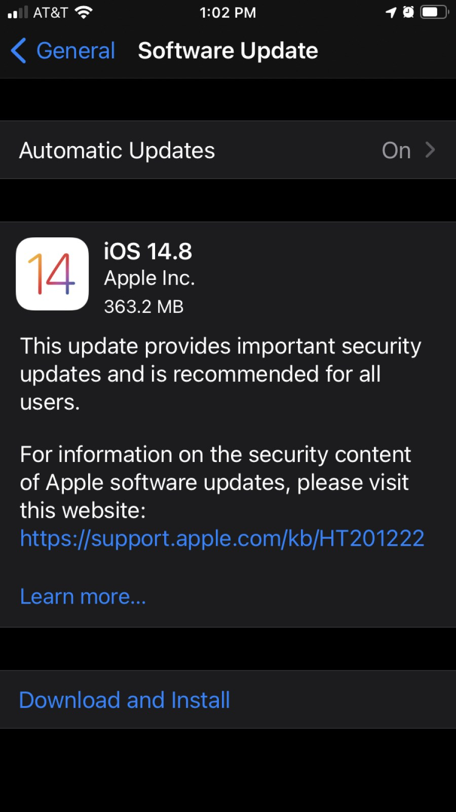 The newest security update for iOS.