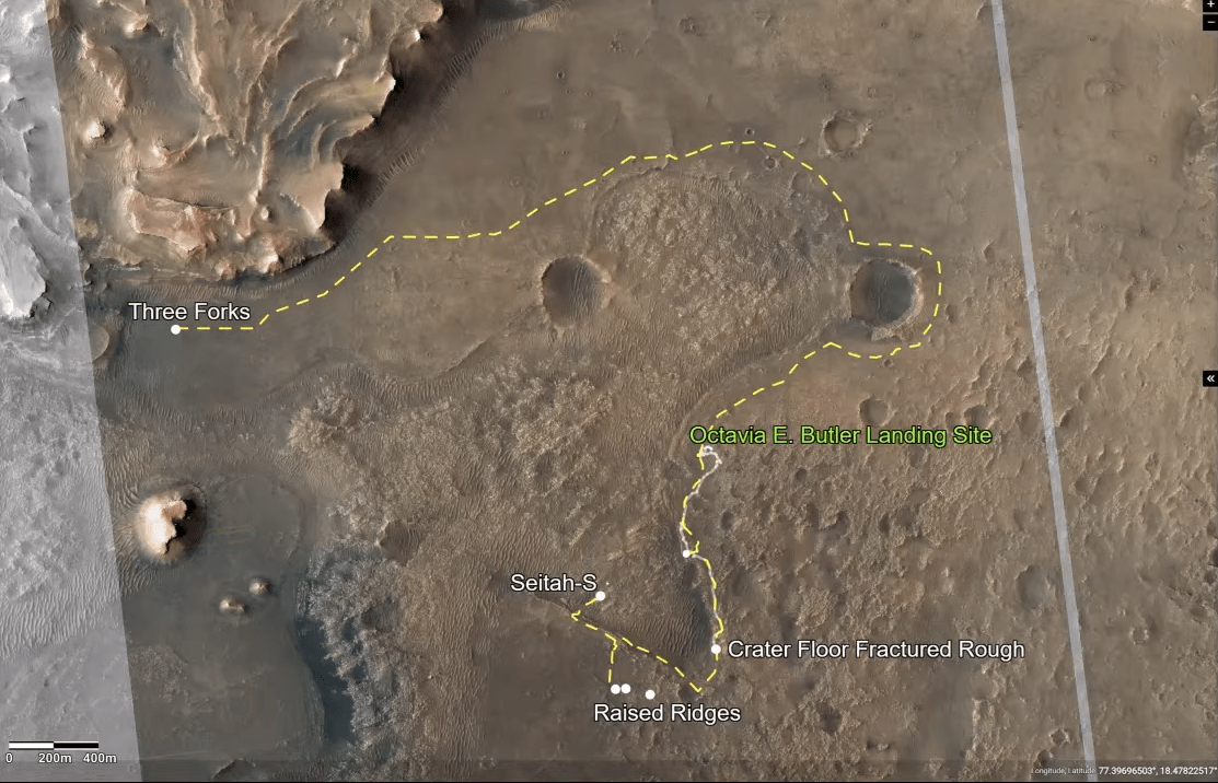 This map of Mars shows key points of interest for the Perseverance mission and potential travel routes.