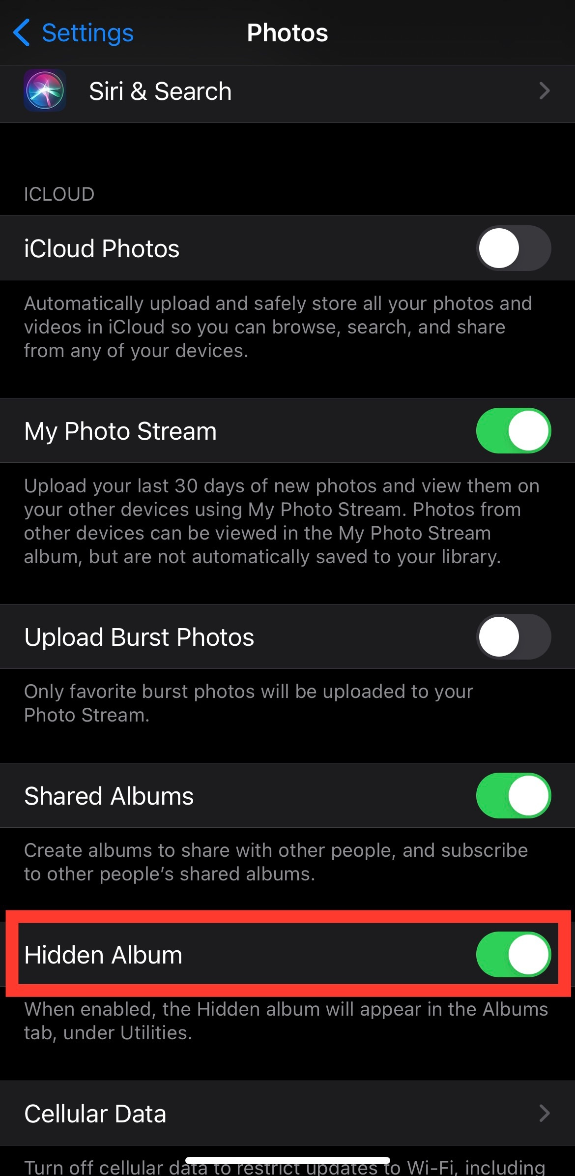 """How to turn your """"Hidden Album"""" """"on"""" and """"off"""""""