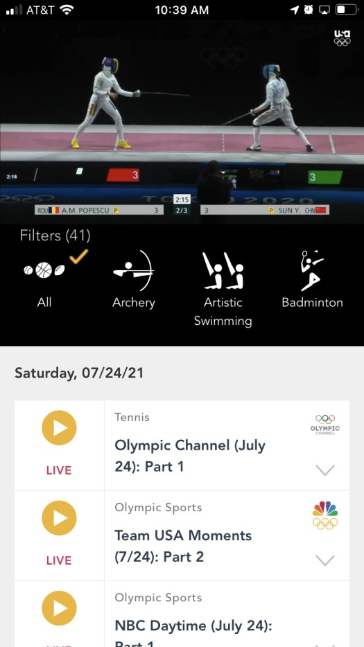 Watching Olympic fencing on the NBC Sports app.