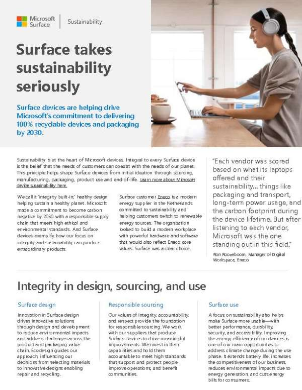 Surface takes sustainability seriously
