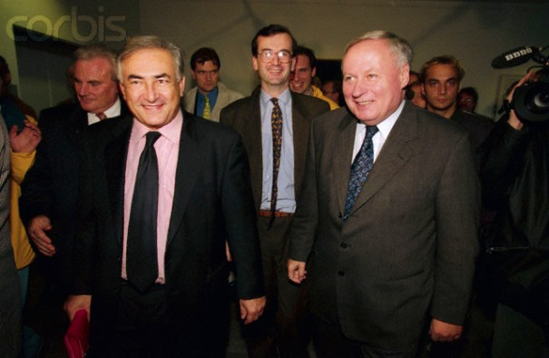 22 Oct 1998, Germany --- Original caption: Dominique Strauss-Kahn, the French Finance Minister, and Oskar Lafontaine, the German Finance Minister meet for a conference. They are meeting to discuss an economic stability pact between the two countries. --- Image by © Jean-Bernard Vernier/Sygma/Corbis